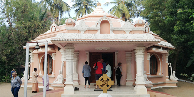 Ashram: A retreat at Saccidananda Ashram is one of the highlights of a pilgrimage that Marist Father Michael Whelan will lead to India and Sri Lanka next year. (Above) Pilgrims at the ashram chapel.