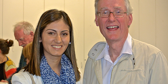 Prayer support: Dina Nona and Bracken Ridge parish priest Fr Gerry Hefferan at a supper after a prayer vigil at the St Joseph and St Anthony Church. Photo: Clare Denkes