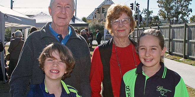 Week to celebrate: Guardian Angels' student William Walmsley with his grandfather John, and Madison McCall with her grandmother Heather Thomson.