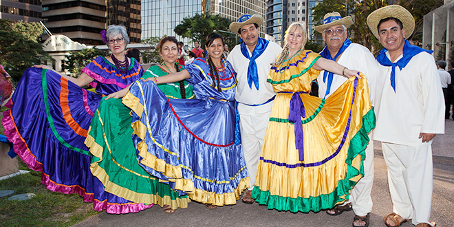 Colourful celebration:The Flor De Candelaria dancers from El Salvador put on a show at the Multicultural Mass at St Stephen's Cathedral in 2013. Photo: Alan Edgecomb