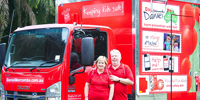 Always cherished: Bruce and Denise Morcombe in front of the Daniel Morcombe Foundation truck, which is used in a safety program for school children; (inset) Daniel Morcombe.
