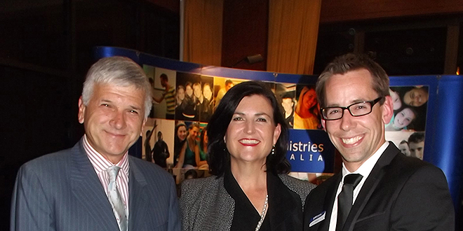 Sharing a smile: Robert Falzon, Patrice McKay and NET Ministries Australia director Mark Doyle at the fundraiser.