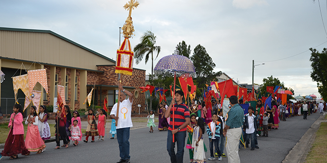 India's saint: a procession through the streets after Mass to celebrate St Alphonsa's feast day.