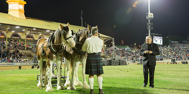 Spiritual reminder: Brisbane Archbishop Mark Coleridge during the Blessing of the Plough held during the opening ceremony of the Ekka. Photo: Rene Marcel