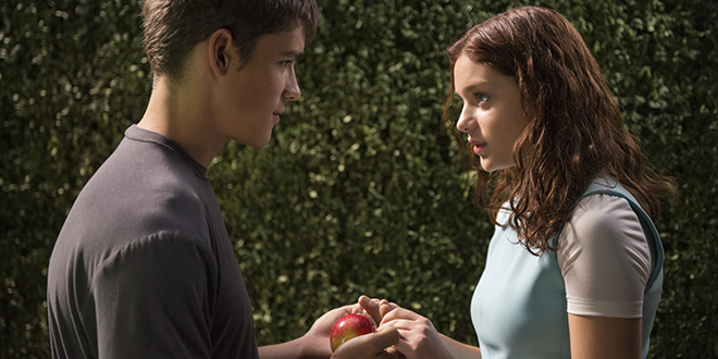 "Life lessons: Brenton Thwaites and Odeya Rush star in a scene from the movie ""The Giver"". Photo: CNS/courtesy The Weinstein Company"