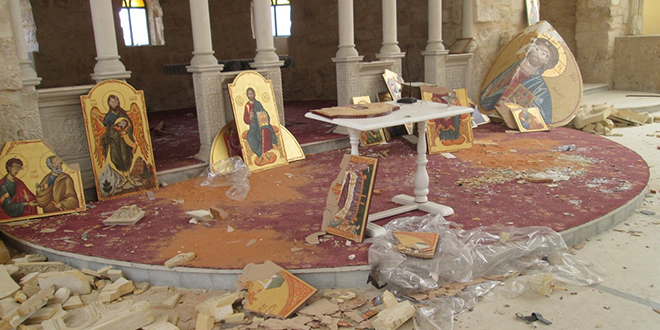 Destroyed: In the Archdiocese of Homs, the Church in Yabroud was ransacked and desecrated by militants of the Islamic State.