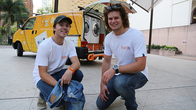 Co-founders of Orange Sky Laundry Lucas Patchett and Nicholas Marchesi.