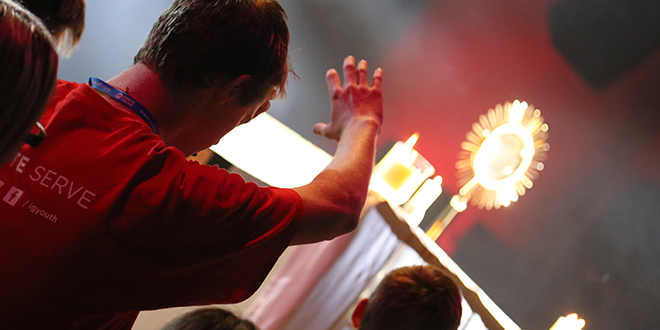 Transformed for Christ: Lachlan Wilson joined hundreds of young people in Eucharistic Adoration at this year's Ignite Conference