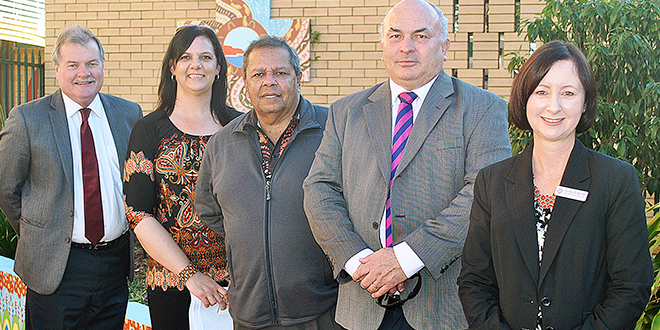 Growing strong: Head of De La Salles campus Terry O'Connor, indigenous learning enrichment Teacher Mary McMurtrie, Uncle Eric Law, principal Greg Myers, Member for Redcliffe Yvette D'Ath at the opening of the new bush tucker garden.