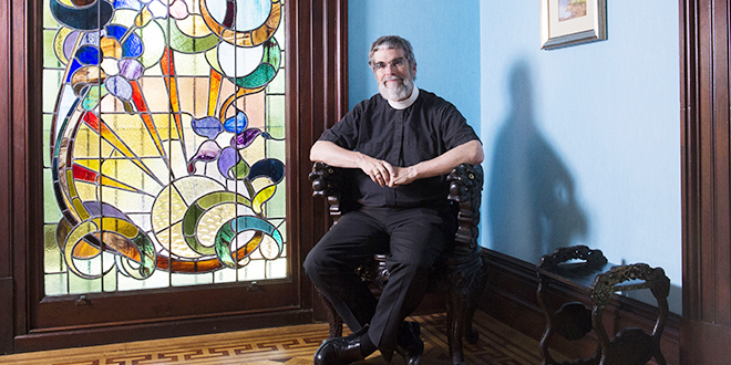 Pondering the profound: Jesuit Br Guy Consolmagno during his visit to Brisbane. Photo: Bradley Kanaris