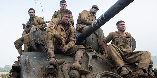 Moral tale: Shia LaBeouf, Logan Lerman, Brad Pitt, Michael Pena and Jon Bernthal star in a scene from the movie Fury. Photo: CNS