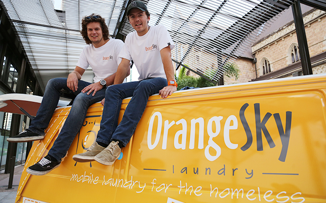 Washing express: Brisbane's homeless will soon be familiar with Brisbane's Lucas Patchett and Nicholas Marchesi, co-founders of Orange Sky Laundry, Australia's first mobile laundry service for the homeless. Photo: Emilie Ng