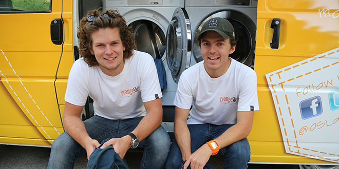 Full steam ahead: Nicholas Marchesi and Lucas Patchett created Orange Sky Laundry for brisbane's homeless. Photo: Emilie Ng