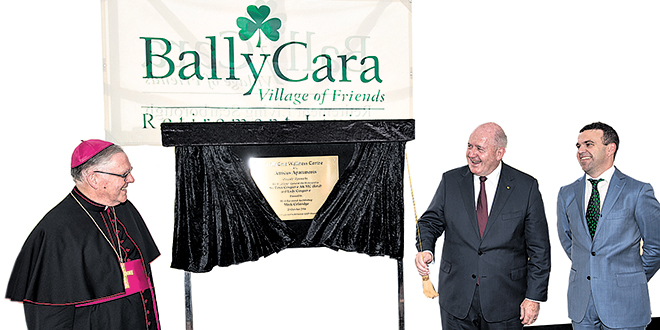 Leading the way: Brisbane Archbishop Mark Coleridge and Governor General Peter Cosgrove at the opening of the new facilities at BallyCara Retirement Village.