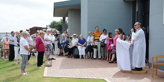 Prayer service: Nerang parish priest Fr Rafal Rucinski celebrated a special All Souls Day prayer service at the new Crypts of the Sacred Heart at Allambe Memorial Park, Nerang.