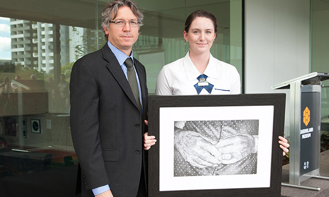 Top effort: Liam Proberts congratulates Aisling Waugh on her win in the BCE Prize for Art secondary section.