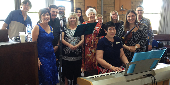 New evangelisation: Members of St Peter's parish, Rochedale travelled one hour to help start a new choir at Holy Family parish, Runaway Bay.