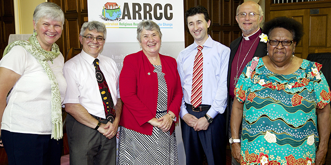Climate of change: At a Brisbane multi-faith press conference before the G20 are members of Australian Religious Response to Climate Change, from left, ARRCC president Thea Ormerod, Rabbi Jonathan Keren-Black, Good Samaritan Sister Geraldine Kearney, Queensland Intercultural Centre executive director Abdul Gelim, Canberra and Goulburn Anglican Bishop Stephen Pickard and Aboriginal Elder Auntie Rose Elu. Photo: Alison Martin