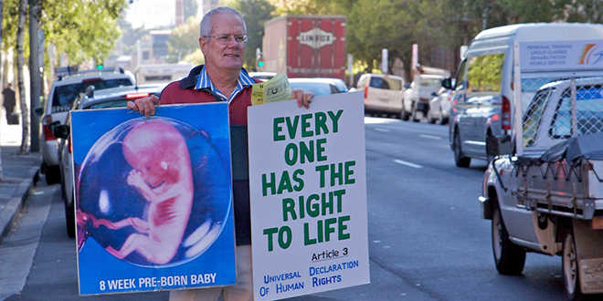 Voice for unborn: Graham Preston presenting his pro-life message in Hobart.