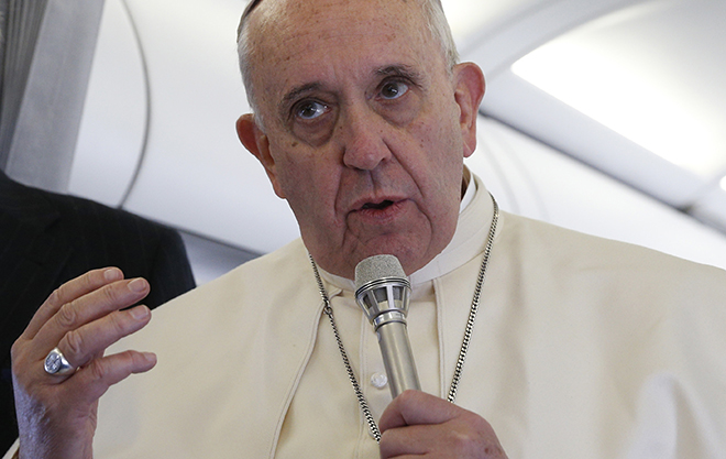 Pope Francis inflight