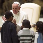 Pope greets children