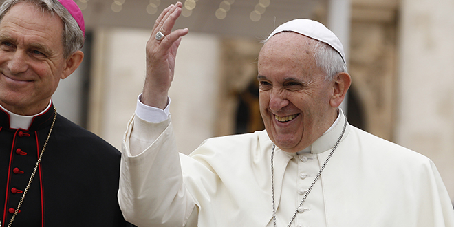 Synod questions: Pope Francis greets the crowd during his general audience in St Peter's Square on October 29. Photo: CNS