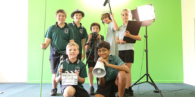 Young filmmakers: Tropfest Jr finalists and St Ita's Primary School students Jonny Paltoglou, Monty Pollard, Jarvis Trenorden, Martin Demy-Geroe, Jonah Vetticad, Kate Blew and Theano Cassimatis on set at the school.