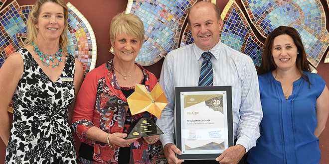 Winners: St Columban's leadership team (from left) Catherine Galvin, Ann Rebgetz, Michael Connolly and Raechel Fletcher with the college's School Pathways to VET Award.