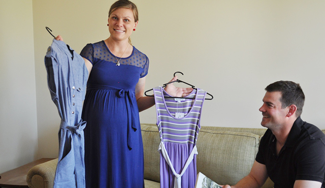 Right fit: Bernadette Ross with husband Tristan show off some pieces from their range of fashionable maternity wear.