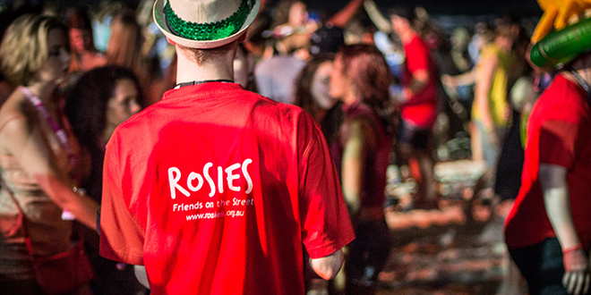 On hand: Rosies volunteers helping young people during Schoolies Week at the Gold Coast.