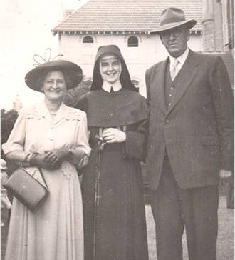 Joyful day: On the day of her profession in 1954, Sr Pat Bartley with her parents Elsie and Edward at the Josephites' headquarters in Mount Street, North Sydney.