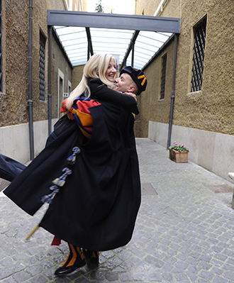 Joanne (nee Ford) with her Swiss Guard corporal Dominic Bergamin moments after he proposed on St Joseph's feast day.  Photo: Katarzyna Artymiak