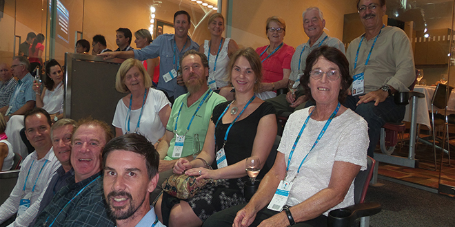 Celebrating success: Queensland Catholic Lawn Tennis Association voluntary board of directors members enjoy an evening at the recent Brisbane International.