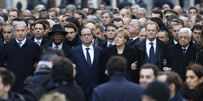 United: International leaders walk in unity in Paris at the start of a January 11 march to honour the victims of the January 7 terrorist attacks. Photo: CNS/Oliver Hoslet EPA