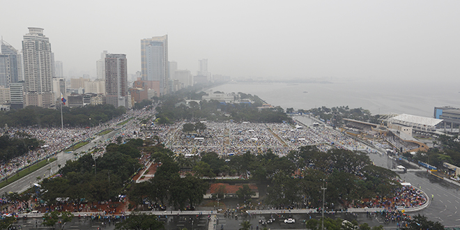 Faithful display: An elevated view shows a large crowd where Pope Francis celebrated Mass at Rizal Park in Manila, Philippines, on January 18. Photo: CNS