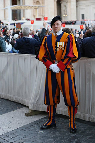 On duty: Swiss Guard Corporal Dominic Bergamin working at St Peter's Square.  Photo: Jessica Krämer