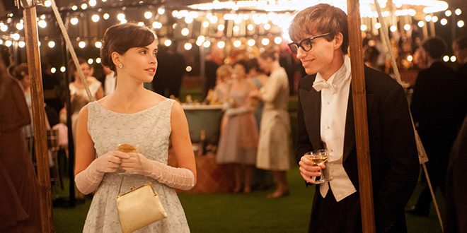 Life of theory: Jane (Felicity Jones) and Stephen Hawking (Eddie Redmayne) in a scene from the movie The Theory of Everything. Photo: CNS/Focus Features