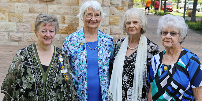 Strong women: Catholic Women's League Queensland executive members Shona Cobham, Veronica Box, Gemma Courtney and Joan Armstrong after their installation at St Stephen's Cathedral. Absent: Yvonne Hore.