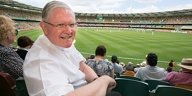 Gabba visit: Archbishop Mark Coleridge at an Australia-South Africa Test cricket match at the Gabba in Brisbane in November 2012. It was the Archbishop's first time at the Gabba. Photo: Rene Marcel