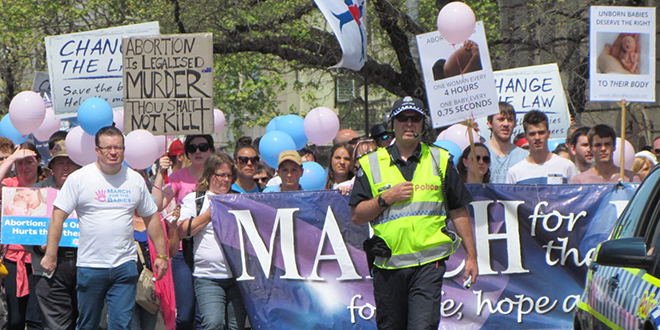 Strong voice: Bernie Finn leads Melbourne's annual pro-life protest March for Babies which he has organised for the past seven years following the passing of Victoria's Abortion Law Reform Act.