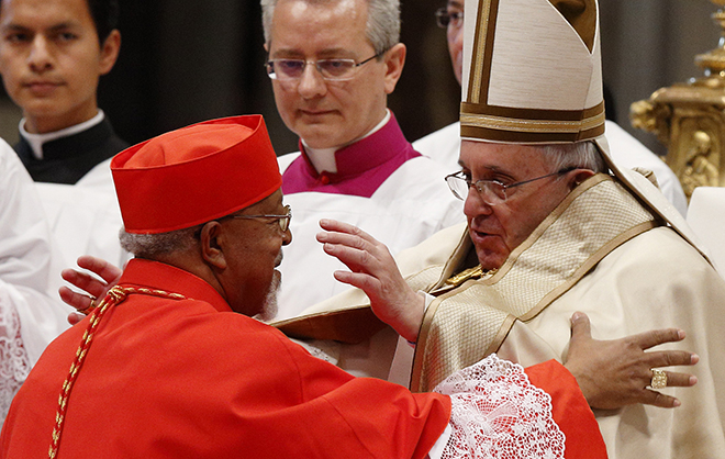 Pope Francis and cardinal