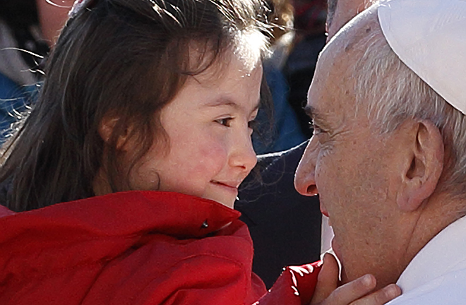 Pope Francis and child