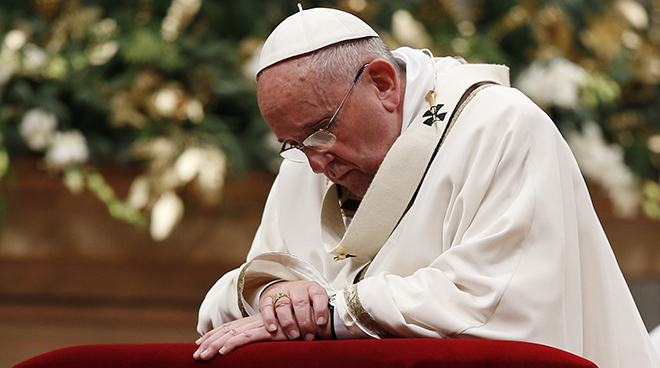 """Pope Francis: """"God does not ask of us anything that He Himself has not first given us."""" Photo: CNS/Paul Haring"""