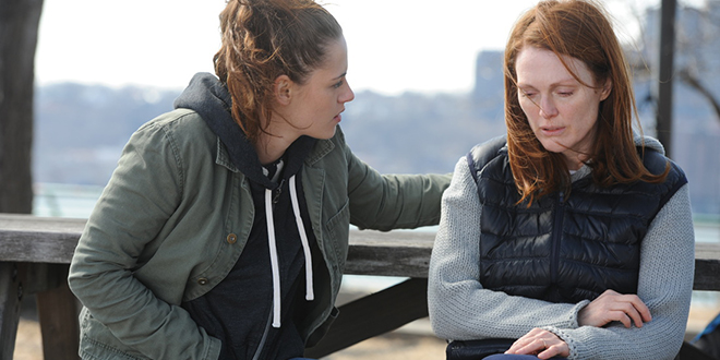 Family crisis: Professor Alice Howland (Julianne Moore, right) chatting with her daughter Lydia (Kristen Stewart).