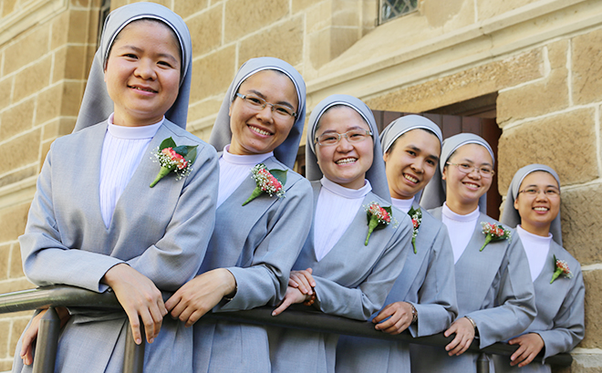 Brides of Christ: Sr Rosario Tran, Sr Marie Josephine Phan, Sr Theresa Maria Dao, Sr Marion Tran, Sr Anna Pham, and Sister Marie Claude Vo before their first professions on February 2. Photo: Emilie Ng