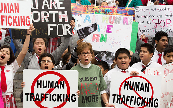 Human trafficking protest