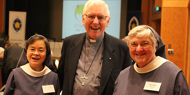 Special year: Benedictine Sister Mary Bernadette (left), Bishop Peter Ingham of Wollongong and Benedictine Sister Hilda Scott discuss the Year of Consecrated Life during an Australian Catholic Bishops Conference gathering with members of religious orders.