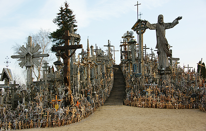 Faith on display: The Hill of Crosses in Lithuania. The first crosses were erected here in 1831 by relatives of fallen loved ones killed during an anti-Russian uprising at what was once the site of an old hill fort.