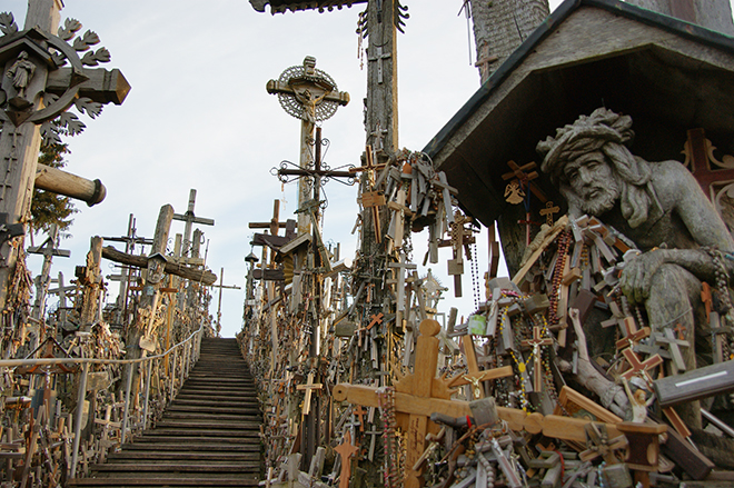 Special place: Some of the sights of The Hill of Crosses.