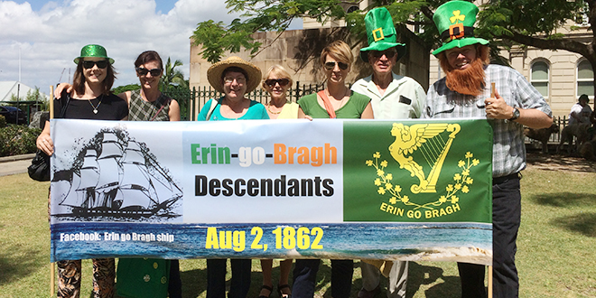 Forever Irish: Descendants of Irish families who boarded the famous ship Erin-go-Bragh, including Michael Nayler (right), marched in Brisbane's St Patrick's Day Parade on Saturday, March 14.